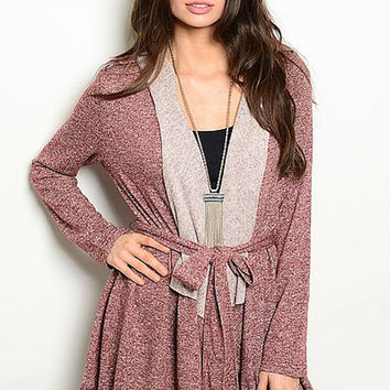 Maroon Hooded Tie Sweater