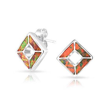 Square Orange Mexican Fire Created Opal Stud Earrings Sterling Silver