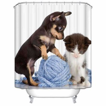 Polyester Fabric Shower Curtain Dog And Cat Folding Waterproof Curtains For Bathroom May2 Ouneed Extraordinary