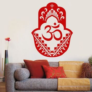 Vinyl Wall Decal Hand Of God Hinduism Hamsa Amulet Om Stickers (2639ig)