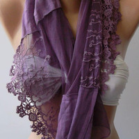 Purple / Lace and Elegant /Shawl / Scarf.