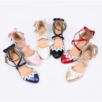 Anime Lolita Cosplay Party Princess Strap Shoes lovely Bow-knot Mid-heel Summer Sandals