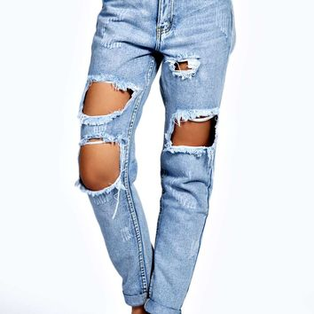 Briana Light Blue Extreme Ripped Boyfriend Jeans