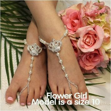 CHARLOTTE flower girl tiara barefoot sandals