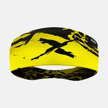Ripped Black Yellow Headband