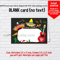 Instant Download, blank Card, #331 Mexican Party, food tent Card, place card, 3.5x2.5inch printable , non-editable NOT CUSTOMIZABLE