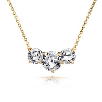 3.25 CT Three Stone Solitaire CZ Necklace Gold Tone Plate Brass