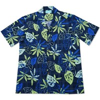 leaf blue hawaiian cotton shirt