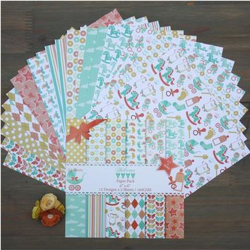 "DIY Photo Album Baby   Decorative  Scrapbooking Papers  Crafts Art Card    6""  Single Side Printed 24 Sheets /Set"