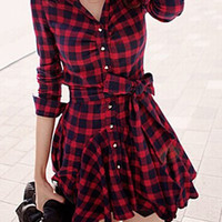 Red Plaid Long Sleeve Button-Up Dress with Belt