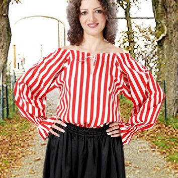 Striped Pirate Blouse Red White