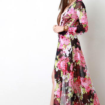 Sheer Mesh Floral Plunging V Maxi Dress | UrbanOG