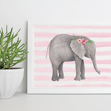 Elephant Girl Nursery Art Print 8x10, Instant Download, Digital Watercolor Artwork, Baby Decor, Printable Pink Nursery Wall Decor