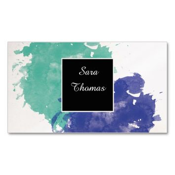 Classy Watercolor Blue & Turquoise Double-Sided Standard Business Cards (Pack Of 100)