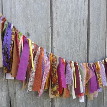 Fall Fabric Banner, 4 Ft Autumn Wedding Garland, Holiday Party Table Backdrop & Photo Prop, Thanksgiving or Halloween Wall and Mantle Decor
