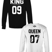 KING and QUEEN crewneck sweatshirts with custom number