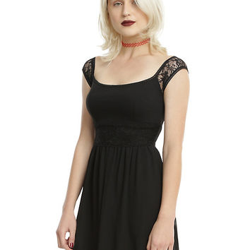 Black Lace Off-The-Shoulder Dress
