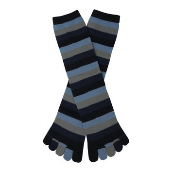 Stripe Toe Mid Calf Socks in Denim