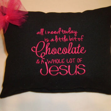 "Religious Pillow ""I need a little bit of coffee and a whole lot of Jesus, Pillow"
