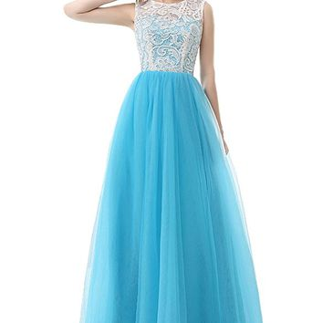 Women's Light Blue Tulle A Line Floor Length Formal Prom Gown With Lace Top