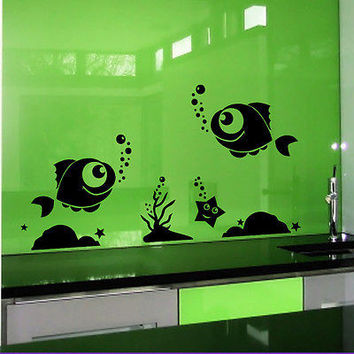 Wall Decals Fish Starfish Decal Bathroom Home Decor Nautical Vinyl Sticker MR431