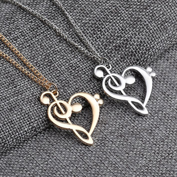 Cute Bass Clef Heart of Treble Pendant Necklace