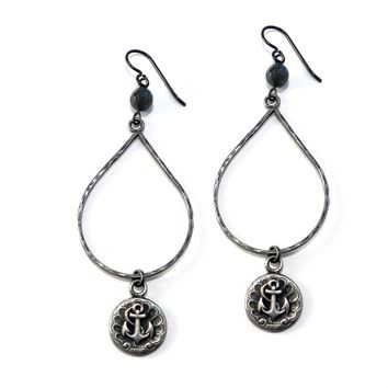 ANCHOR Large Teardrop Antique Button Earrings - SILVER w/ gemstone