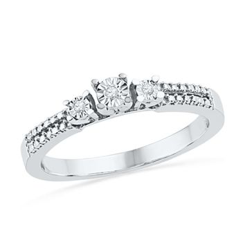 Diamond Accent Three Stone Promise Ring in Sterling Silver|Zales