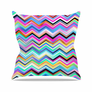 "Dawid Roc ""Colorful Rainbow Chevron"" Multicolor Blue Outdoor Throw Pillow"