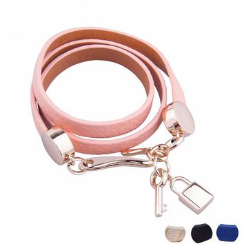 Luxury Pink Leather Bracelet with Lock and Key