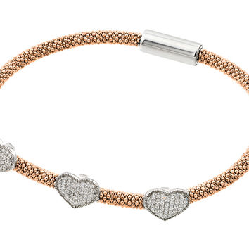 .925 Sterling Silver Rhodium &  Rose Gold Plated Heart Micro Pave Clear Cubic Zirconia Beaded Italian Bracelet