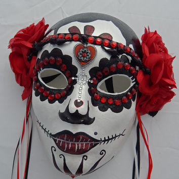 Valentines Day Red Dia De Los Muertos Wearable Or Wall Mount Mask