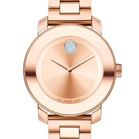 Women's Movado 'Bold' Crystal Marker Bracelet Watch, 36mm - Rosegold
