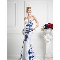 White & Royal Blue Strapless Long Dress 2016 Prom Dresses
