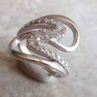 Sterling CZ Ring Crystal Silver Wave Wrap Swirl Size 7 Vintage CW0107