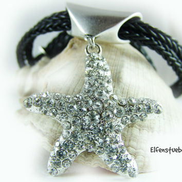 Women's necklace leather with a big starfish black silver rhinestones - women's necklace - party - statement jewelry - valentines day