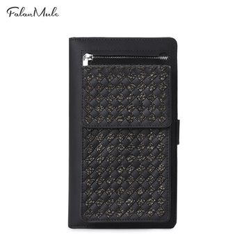 Fashion Wave Wallet Button Coin Purse Long Men Wallets Genuine Leather Men Purse Wallet Purse Men Leather Wallet