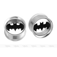Pair Stainless Steel Batman Screw Flesh Tunnels Ear Plugs Expander Stretcher New