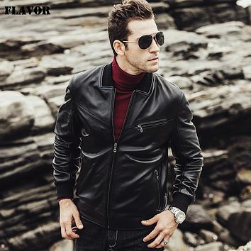 New Men Sheepskin Genuine leather jacket male coat Motorcycle Real Leather Jacket