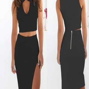 Black Cut Out Two Piece V-neck Side Slit Prom Evening Party Midi Dress
