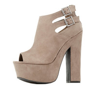 Bamboo Peep Toe Double-Buckle Platform Sandals