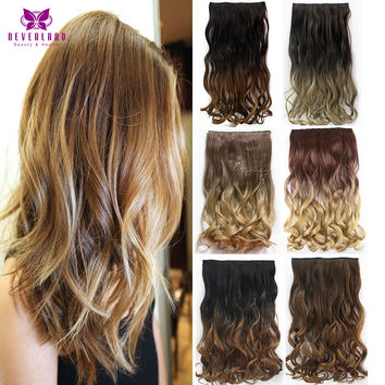 12Style 24inch one Piece Curly Hair Clips in Ombre Tone Dip Dye Synthetic Hair Extensions Heat Resistant Fading 135g Cabelo Hair