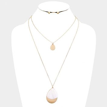 Double Layered Mother Of Pearl Teardrop Pendant Necklace