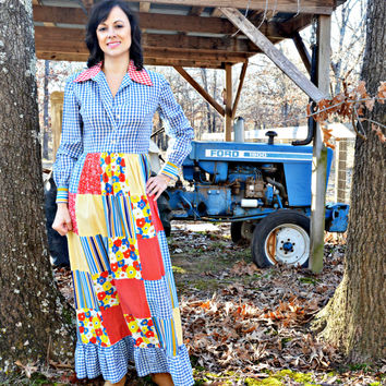 Vintage Maxi Dress Long Sleeve /Multi Print Patchwork Prairie Farm Hippie Style/ Handmade