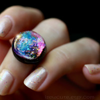 Galaxy ring, Supernova Remnant W49B, Cosmic Stardust Galaxy Ring Modern Resin Space Exploration Jewelry Out of this World Fashion Statement