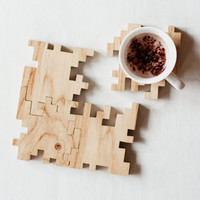 Wooden Coasters - Solid Oak Wood - Interlocking Geometric Puzzle - Drinks Mats - Set of 4
