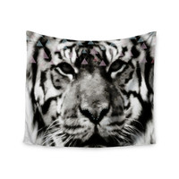 "Suzanne Carter ""Tiger Face"" Gray Animal Wall Tapestry"