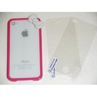"Premium Quality (HOT PINK) iPhone 4S / 4 Bow Bumper Case Skin Cover "" With Clear Front and Back Reusable LCD Screen & Back Panel Protectors """