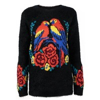 ZLYC Women Fluffy Lovebird Jungle Print Floral Sleeves Detail Pullover Jumper Sweater