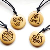 Four Elements Necklace Earth Air Fire Water Emblem Symbol Choker Rustic Natural Wooden Pendant Nature Magic